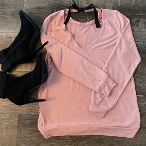 Tops - Blush Pink Light Sweater Top With Bow Detail